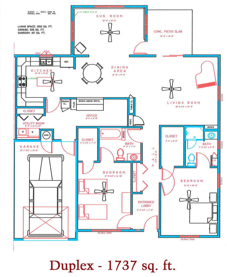 1737 sq. ft. duplex