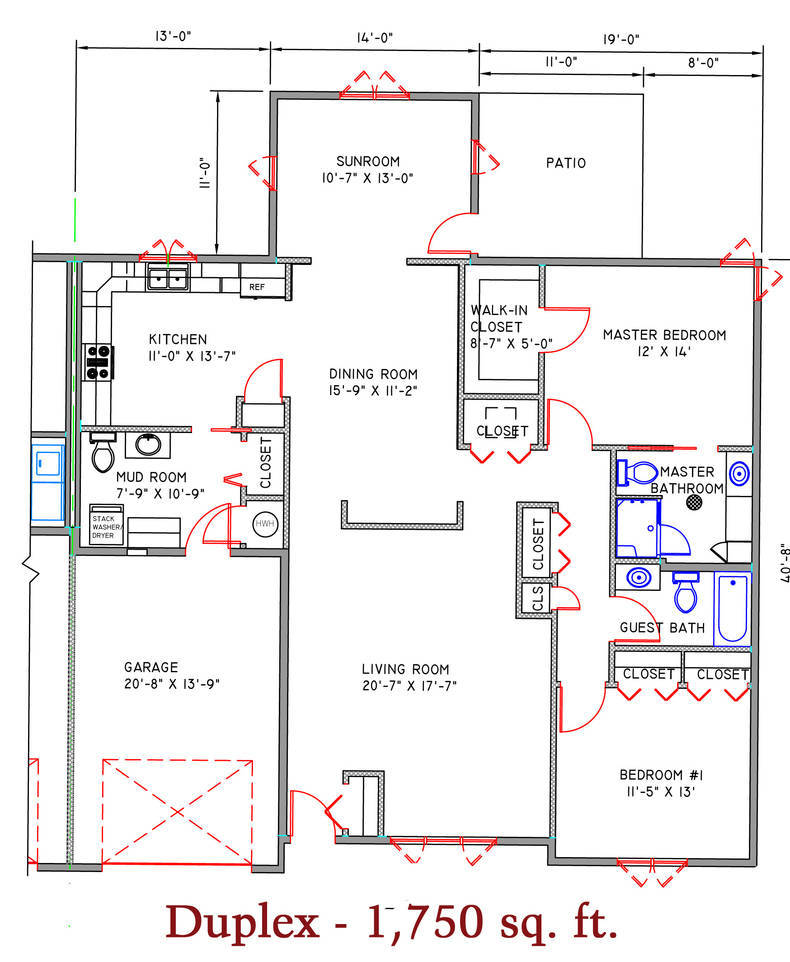 1750 sq. ft. Duplex