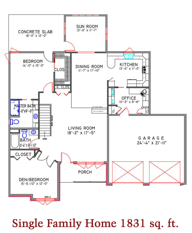 Single Family Home 1831 sq. ft.