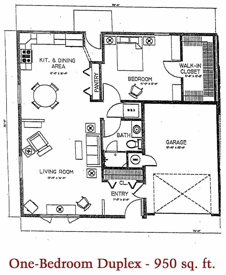 One-Bedroom Duplex 950 sq. ft.